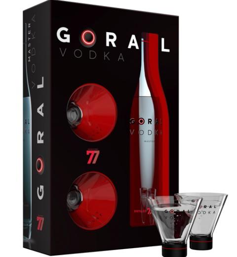 Goral Vodka MASTER 40% 0.7L v kartóniku s pohárikmi