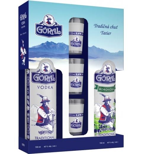 Goral Vodka + Borovička 40%+40% 2x0.7L KOSHER+3 POHARIKY