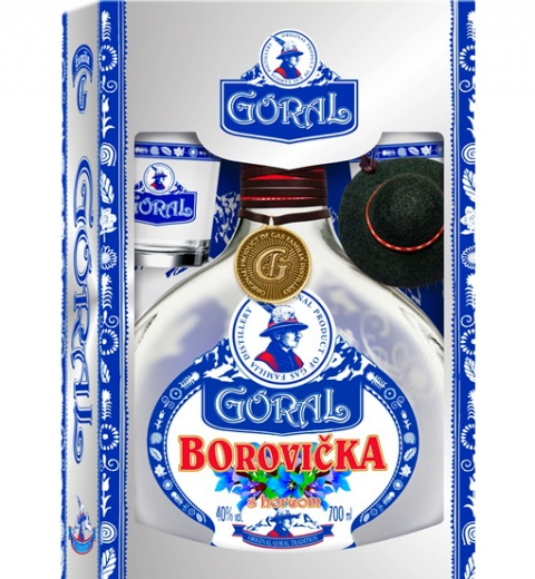 Goral Borovička s horcom 40% 0.7L+2 POHARIKY